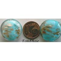 Perles verre GALET 20mm Touches dorées BLEU par 4 pcs