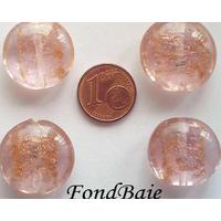 Perles verre GALET 20mm Touches dorées ROSE par 4 pcs
