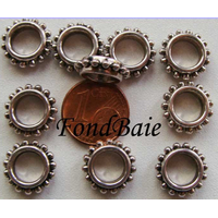 Perles Métal Argenté RONDELLE Intercalaire POINTILLE 13,5mm par 10 pcs
