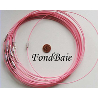Collier monté FIL CABLE 37cm ROSE 1mm fermoir VIS par 1 pc