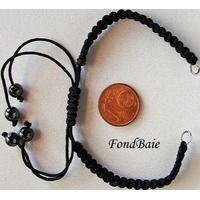"Bracelet ""SHAMBALLA Express"" Nylon trssé noir  + perle Hématite par 1 pc"