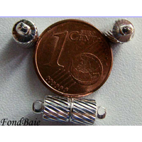 Fermoirs TUBE magnétique argenté clair strié par 2 pcs