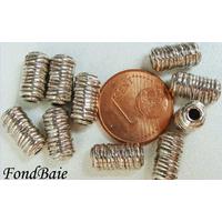Perles Métal argenté clair Tubes Stries 11mm par 10 pcs