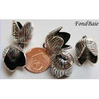 Perles Métal argenté vieilli COUPELLES 13mm par 5 pcs