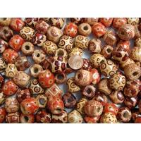 Perles Bois TONNEAUX 16mm MIX modèles par 100 pcs