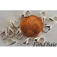 Fermoirs mousqueton 10mm petits ARGENTE CLAIR par 10 pcs