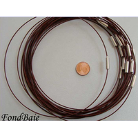 Collier monté FIL CABLE 37cm MARRON FONCE 1mm fermoir VIS par 1 pc