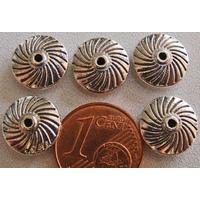 Perles Métal ARGENTE Disque 11x4mm Spirale par 20 pcs
