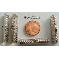 Embouts pour ruban 30mm POINTILLE ARGENTE par 6 pcs