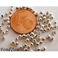 Perles Métal argenté CLAIR RONDES INTERCALAIRES 2,4mm par 200 pcs