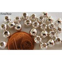 Perles Métal argenté CLAIR RONDES INTERCALAIRES 5mm par 50 pcs