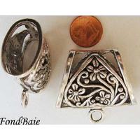 Perles Métal argenté vieilli PASSANT pour foulard COEUR avec ANNEAU par 1 pc
