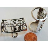 Perles Métal argenté vieilli PASSANT pour foulard TREFLE avec ANNEAU par 1 pc