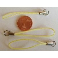 Dragonne Attache portable cordon JAUNE avec anneau par 20 pcs