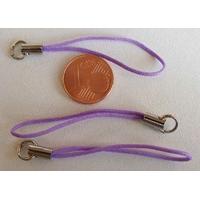Dragonne Attache portable cordon VIOLET avec anneau par 20 pcs