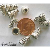 Perles Métal argenté vieilli CONE motif rond 10mm par 100 pcs
