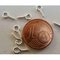 Piton à vis bélière 8mm métal ARGENTE CLAIR par 100 pcs