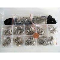 KIT LOT 820 APPRETS ARGENTES + 5m chaine + 13m fil nylon noir + 5 porte-clés avec rangement par 1 pc