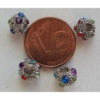 Perles rondes 6mm strass multicolores par 10 pcs