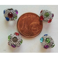 Perles rondes 8mm strass multicolores par 8 pcs