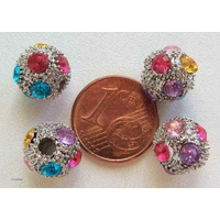 Perles rondes 10mm strass multicolores par 6 pcs
