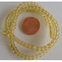Fil Perles verre simple RONDES 3,5mm JAUNE MIEL par 100 pcs