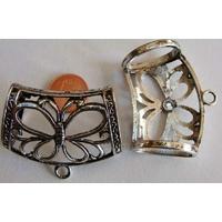 Perles Métal argenté vieilli PASSANT pour foulard PAPILLON avec ANNEAU par 1 pc