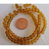 Fil Perles verre simple RONDES 4,5mm MARRON MIEL par 75 pcs