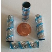 Perles Aluminium Tubes 30x8mm BLEU par 5 pcs