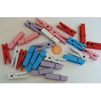 Pinces à linge 35mm BOIS mix couleurs pastels par 25 pcs