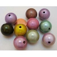 Perles résine Rondes 16mm nacrées MIX Couleurs par 10 pcs