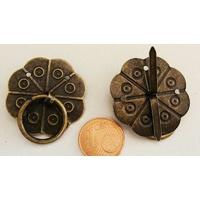 Poignées rondes 30mm métal couleur bronze par 2 pcs