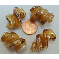 Perles VIS verre Lampwork 28x17mm MARRON CLAIR par 2 pcs