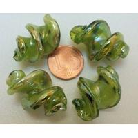 Perles VIS verre Lampwork 28x17mm VERT par 2 pcs