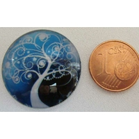 Cabochon verre rond 25mm ARBRE fruit autocollant par 1 pc