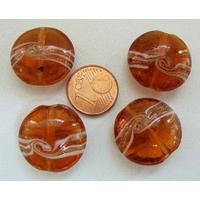 Perles verre Galets 20mm bandeau MARRON par 4 pcs