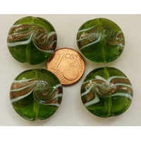 Perles verre Galets 20mm bandeau VERT par 4 pcs