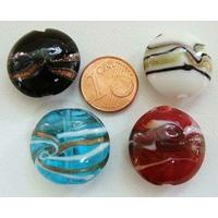 Perles verre Galets 20mm bandeau MIX par 4 pcs