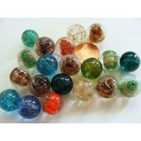 Perles verre RONDES 12mm Touches dorées MIX couleurs par 20 pcs