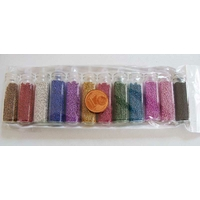 LOT 12 FIOLES PAILLETTES forme BILLE CAVIAR mix couleurs