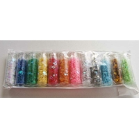 LOT 12 FIOLES PAILLETTES forme MIX mix couleurs