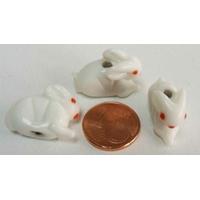 Perles Porcelaine LAPIN LIEVRE BLANC 18mm par 4 pcs