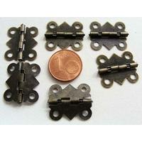 Charnières métal couleur bronze petites 20x17mm par 6 pcs