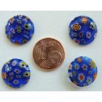 Cabochons verre MILLEFIORI 15mm fond BLEU MARINE fleurs multicolores par 4 pcs