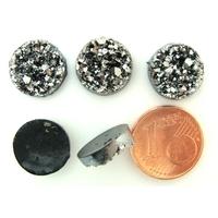 Cabochons ronds 12mm résine noir aspect cristaux argentés par 5 pcs