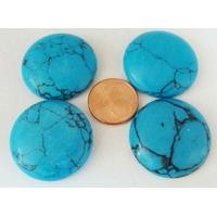 Cabochon PIERRE rond 26mm Turquoise synthétique par 1 pc