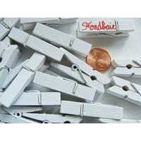 Pinces à linge 35mm BOIS peint BLANC par 25 pcs