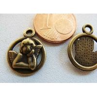 Breloques Métal Bronze ANGE ANGELOT rond 13mm par 6 pcs