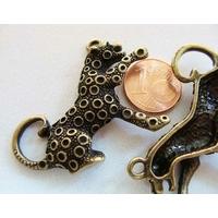 PENDENTIF Breloques Métal Bronze LEOPARD PANTHERE 44mm par 1 pc