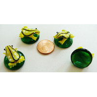 Cabochon GRENOUILLE JAUNE verre lampwork 20mm par 1 pc